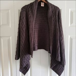 Faded Glory Taupe Asymmetrical Open Cardigan